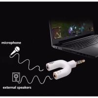 Audio Splitter HP Jack 2 In 1 Spliter Mic and Sound Spliter Y Jack 3.5 - Putih