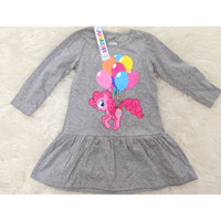Dress anak perempuan Jurassix Lengan Panjang Little Pony 2 Tahun