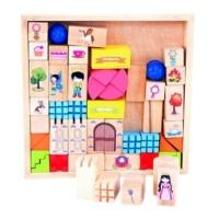 Mainan Edukasi Anak - Balok Bangun Kayu Block Lego Kerajaanku Istanaku