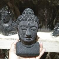 MINIATUR PATUNG KEPALA BUDHA BAHAN BATU - PAJANGAN