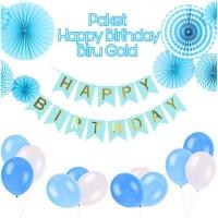 Paket Dekorasi Hiasan Balon Ulang Tahun / Happy Birthday Biru 02