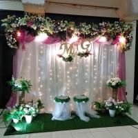 sewa dekorasi backdrop pernikahan nuansa pink 3.3 meter