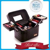 LANLEO Tas Kosmetik Make Up Travel Organizer Bag Bahan Kulit