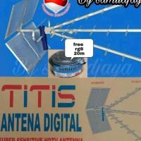 antena tv titis tt1000 dan kabel rg6 18meter tinggal colok/ DISKON