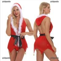 Baju Tidur Lingerie Desain Mrs Santa Dengan Lonceng Untuk Wanita