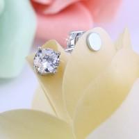 1pair Bergaya Unisex Mens Womens Batal Kristal Magnet Earring Anting
