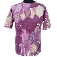 Kaos Pria Batik Eco Print Motif Daun Asli