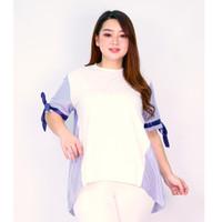 Atasan Blouse Stripe Wanita LD 116 Jumbo Baju Kerja Salur XXL Nicole - Putih