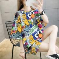 Elmo Big Size T Shirt Kaos Oblong Style Monokrom Full Color - Putih
