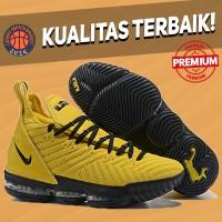 Sepatu Basket Sneakers Nike Lebron 16 Yellow Strike Black Pria Wanita
