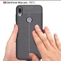 Leather Case Asus Zenfone Max Pro M1 slim Auto Focus carbon soft