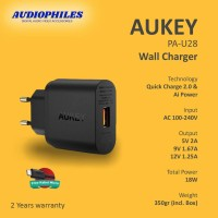 Aukey Turbo Wall Charger 1 Port 18W QC2.0 Fast Charging - PA-U28