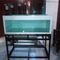 aquarium ukuran 120x50x50 kaca full 10mm full skotlet & rak besi hollo