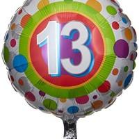 Qualatex Foil Balloon 41130 AGE 13 COLORFUL DOTS, 18, Multicolored
