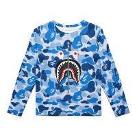 Kaos Anak Dry Panjang Fit Bape Shark Blue