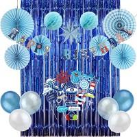 Easy Joy Baby Boy 1st Birthday Nautical Party Decoration Kit Blue Foil