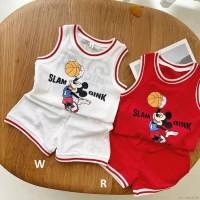 baju bayi setelan baju basket mickey mouse for baby 1-4 tahun