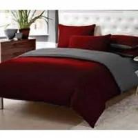 Bed Cover Bolak balik 2 Warna (maroon-Abu) Uk Single Size 120x200