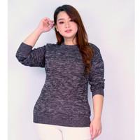 Sweater Rajut Wanita Twist LD Max 120 Baju Hangat Misty Cewek Jumbo - Hitam