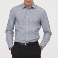 HnM Non-Iron Grey Shirt BIGSIZE - Kemeja H&M Casual Pria JUMBO SIZE
