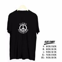 Kaos T-Shirt Baju Slank Peace Dan Love Atasan Pria Dan Wanita Termurah
