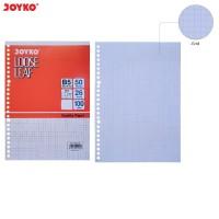 Joyko Kertas Binder Loose Leaf Grid Kotak 5x5mm B5 100Gsm 50 Sheet ORI