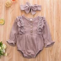 romper bayi anak purple lace plus bandana imut