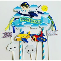 Pesawat / Pilot / Plane Topper Cake Birthday / Hiasan Kue Ulang Tahun