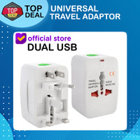 Universal Travel Adaptor USB Charger Adapter Colokan Stop Kontak