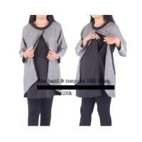 IH771 Baju hamil muslimah blus 1591 hitam