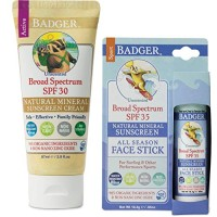 Badger SPF30 Sunscreen (2.9 oz) and Badger SPF 35 Sport Sunscreen Face