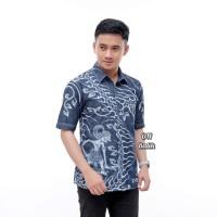 New Kemeja Jeans Batik Pria Wayang Mewah Berkualitas - Ory DN Batik