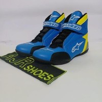 Obral Sepatu drag Alpinestar New biru stabilo variasi tri M