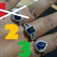hoot sale Cincin Wanita Batu Safir Biru Lapis Emas Putih terjamin