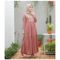 ALEXA DRESS Gamis Muslimah Simple Trendy Kekinian Baju Hijab Casual