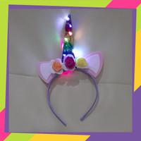 801 Bando tanduk Unicorn lampu LED motif 3 bunga / Bandana Headband