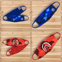 MASKER KAIN MULUT ANTI DEBU A BATHING APE BAPE RED SHARK & BLUE CAMO
