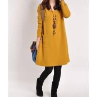 Dress Tangan PanJANG Baju Fashion Wanita Warna Kuning