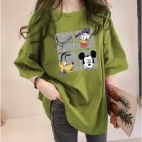 Mickey T Shirt Style Oversized Kaos Tangan Pendek Longgar K POP Kr