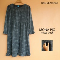 MAMIGAYA Nursing Wear - MONA Panjang | Dress Hamil Menyusui | Baju Asi