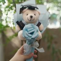 Single Rose Bouquet & Boneka Wisuda / Bucket Bunga Buket Graduation