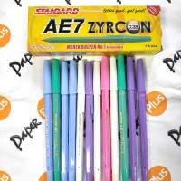 Pulpen / Ballpoint STANDARD AE7 Zyrcon (warna warni)(12pcs)