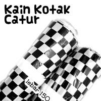 kain kotak catur bali hitam putih katun bahan bendera