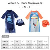 baju renang anak romper/ baju renang bayi shark/ baju renang import