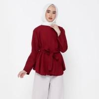 Hijab Ellysha Ribbonia Style Blouse Maroon Red Kualitas Terbaik