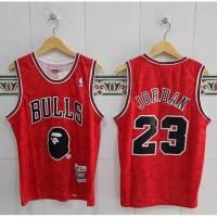 Baju Jersey Basket Classics NBA Michael Jordan X Bape Edition - Merah