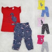 Baju Setelan Anak Bayi Perempuan Setelan Celana Garis Flaminggo