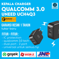 [NEW] CHARGER UNEED DUAL PORT QUALCOMM QUICK CHARGE 3.0 - XIAOMI ASUS