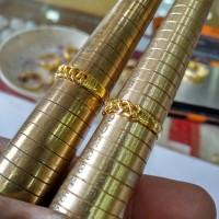 Cincin Emas Murni Kepang dandan LM999,9 24K Asli 3,35 Gr Size 10 - 18
