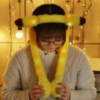 Mantab Topi Kelinci Nyala Malam Lucu Bando Kelinci Pikachu Hat Nyala M
